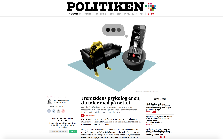 Politiken: Fremtidens psykolog er en, du taler med på nettet